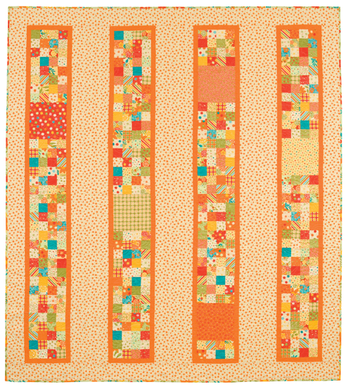 Tangerine Tango quilt from FourPatch Frolic Quilt Patterns For Beginners