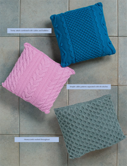 knitted cable pillows