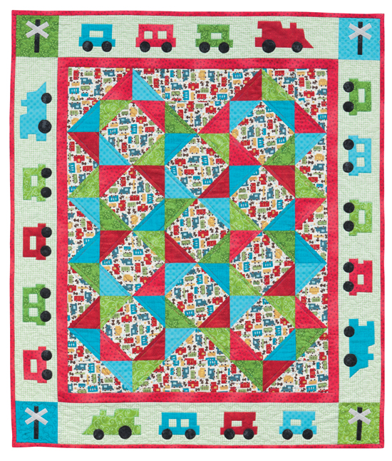Wooden train baby quilt pattern