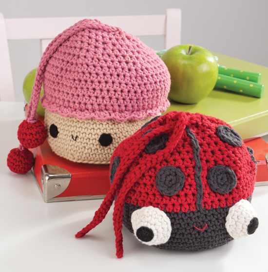 Crocheted Cupcake and Ladybug Snack Bags
