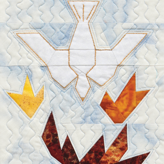 Descending Dove and Flames quilt block