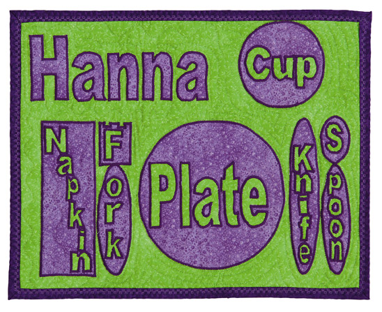 Child's place mat from Snuggle-and-Learn Quilts for Kids