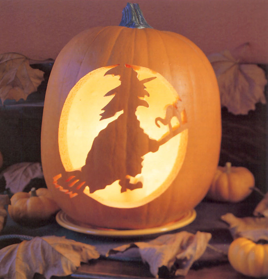 Carved Witch Pumpkin