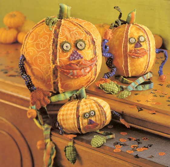 Fabric pumpkin heads