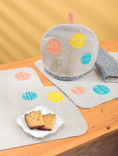 Circle Blooms Tea Cozy and Place Mats by Amy Struckmeyer