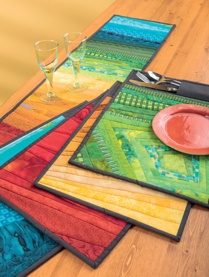 Shattered Strips Table Runner and Place Mats by Missy Shepler