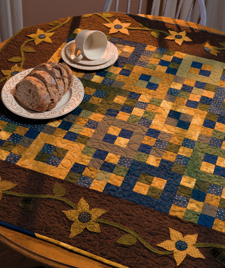 Scrappy blue and yellow quilt from Double Take