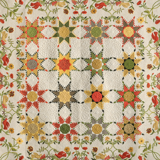 Celebration of Feathered Stars and Wildflowers quilt by the Vereins Quilt Guild